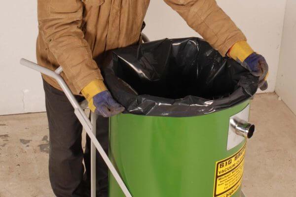 Big Brute Disposable Plastic Waste Bags in a Big Brute Drum