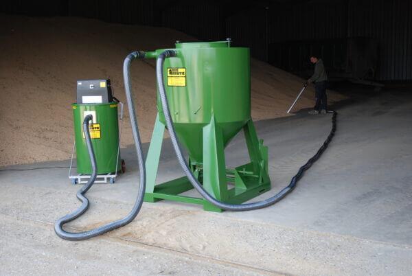 Big Brute Bulkmaster 500 Interceptor and Big Brute Vacuum Cleaner Cleaning in a Grain Store