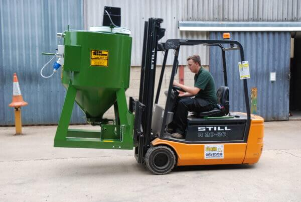 Big Brute Bulkmaster 500 Self Powered Being Moved on a Forklift