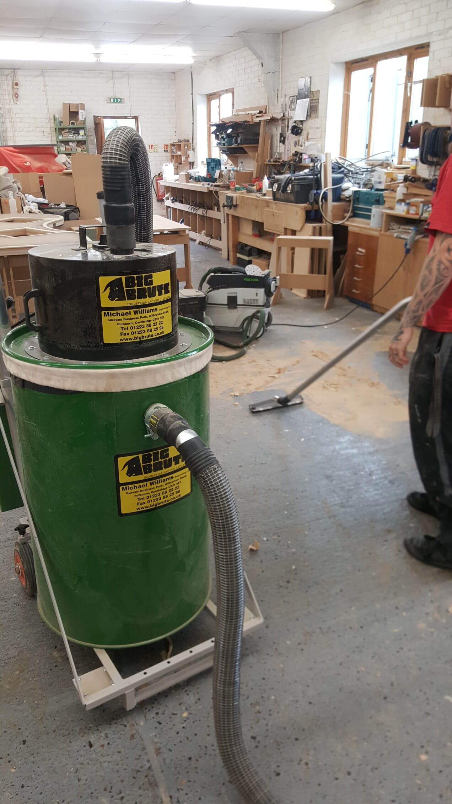 Knotty Ash Woodworking Cleaning Wood Dust With A Big Brute HEPA Industrial Vacuum Cleaner