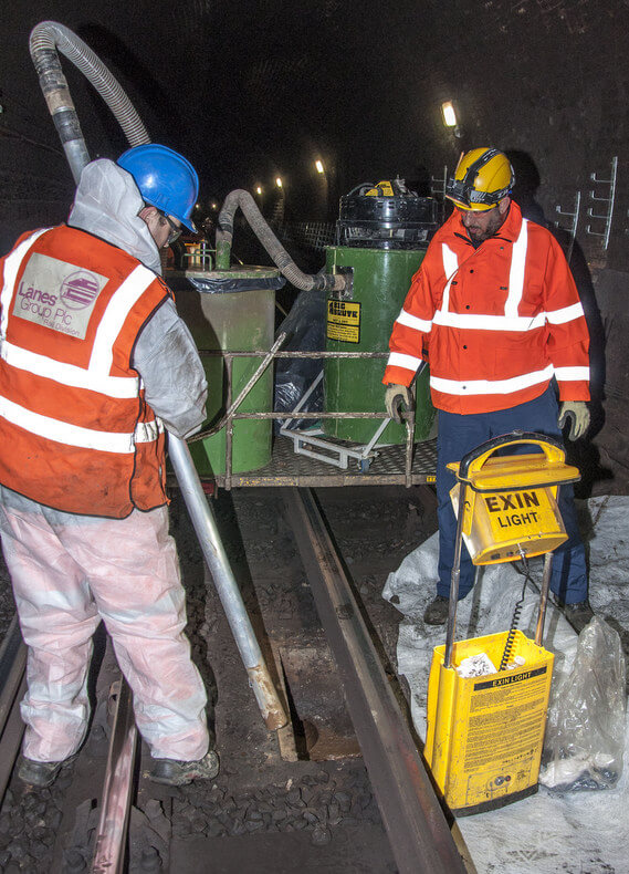 Lanes Group Using Their Big Brute Wet & Dry To Empty Sumps Beneath The Tracks On The London Underground