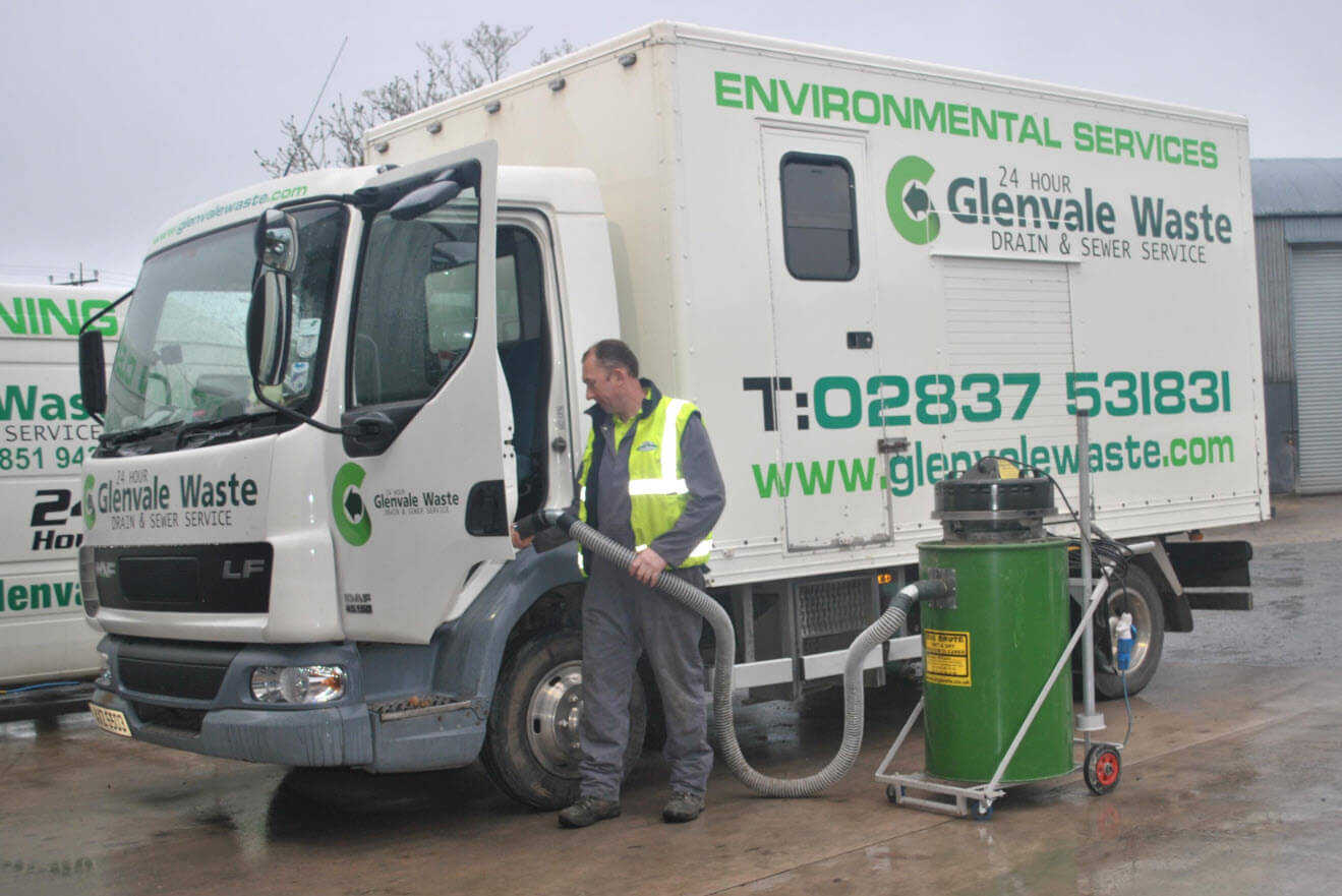 Pat Hughes Managing Director of Glenvale Waste Madden With His Big Brute Wet & Dry Industrial Vacuum Cleaner