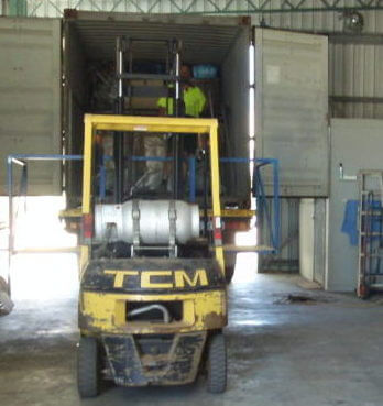 Unloading A Container Of Big Brute Industrial Vacuum Cleaners In Perth, Australia