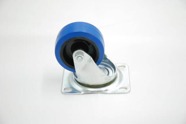 V83 Blue Rubber Swivel Castor 75mm